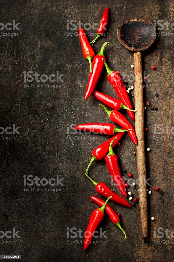 Vibrant red mexican hot chilli pepper stock photo