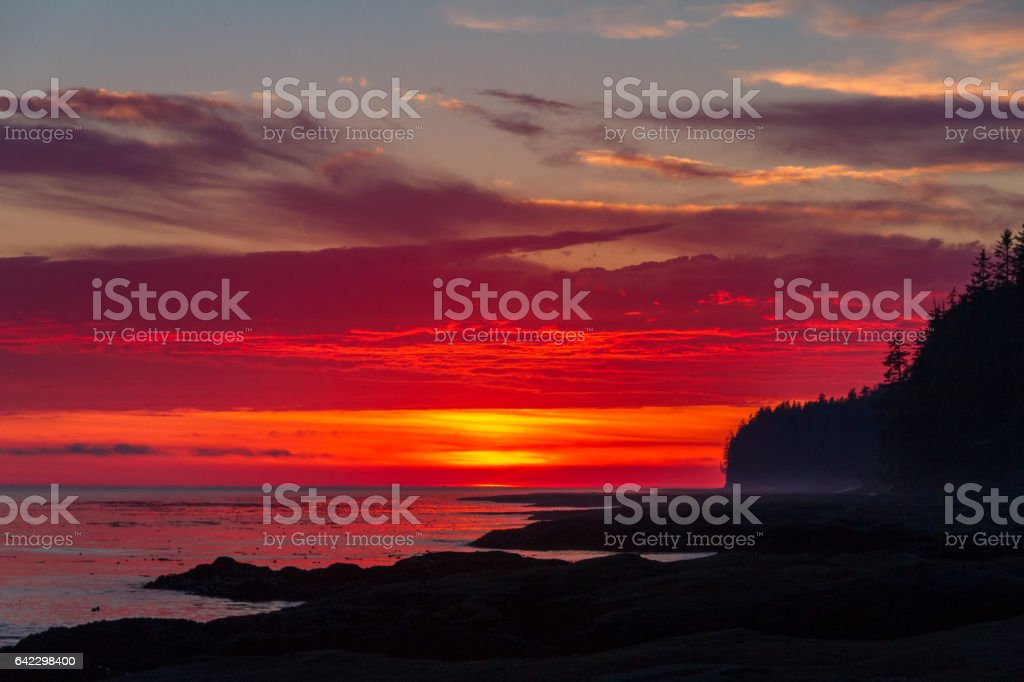 Vibrant Red Sunset stock photo