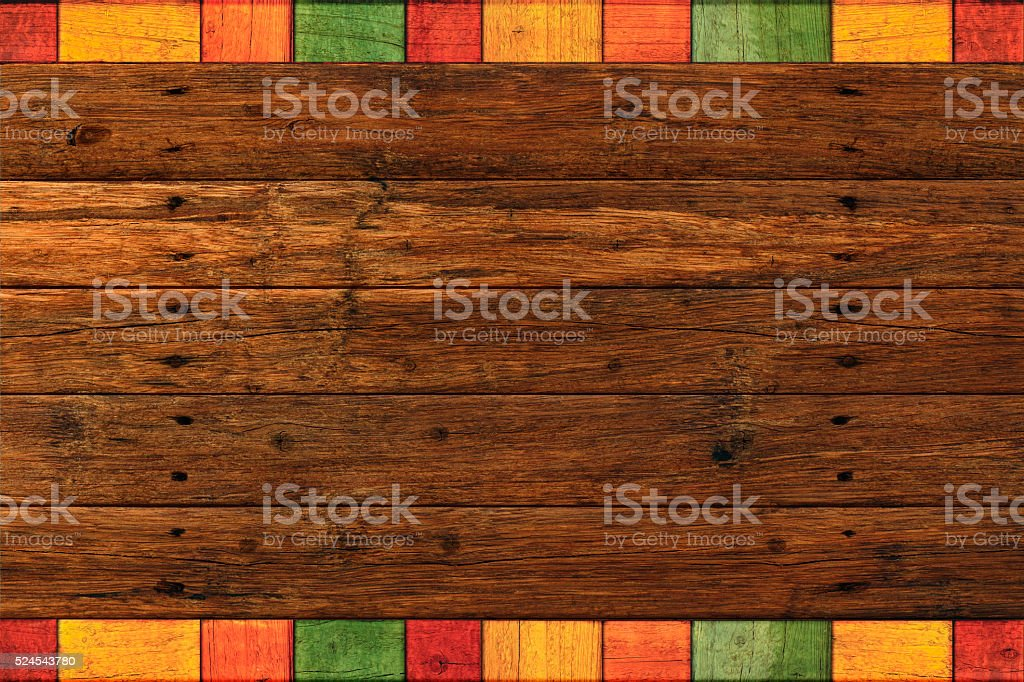 Vibrant Rustic Mexican Colored Border Dark Wood Background stock photo