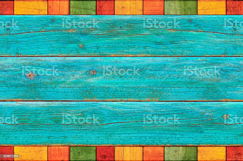 Vibrant Rustic Mexican Colored Wood Background stock photo