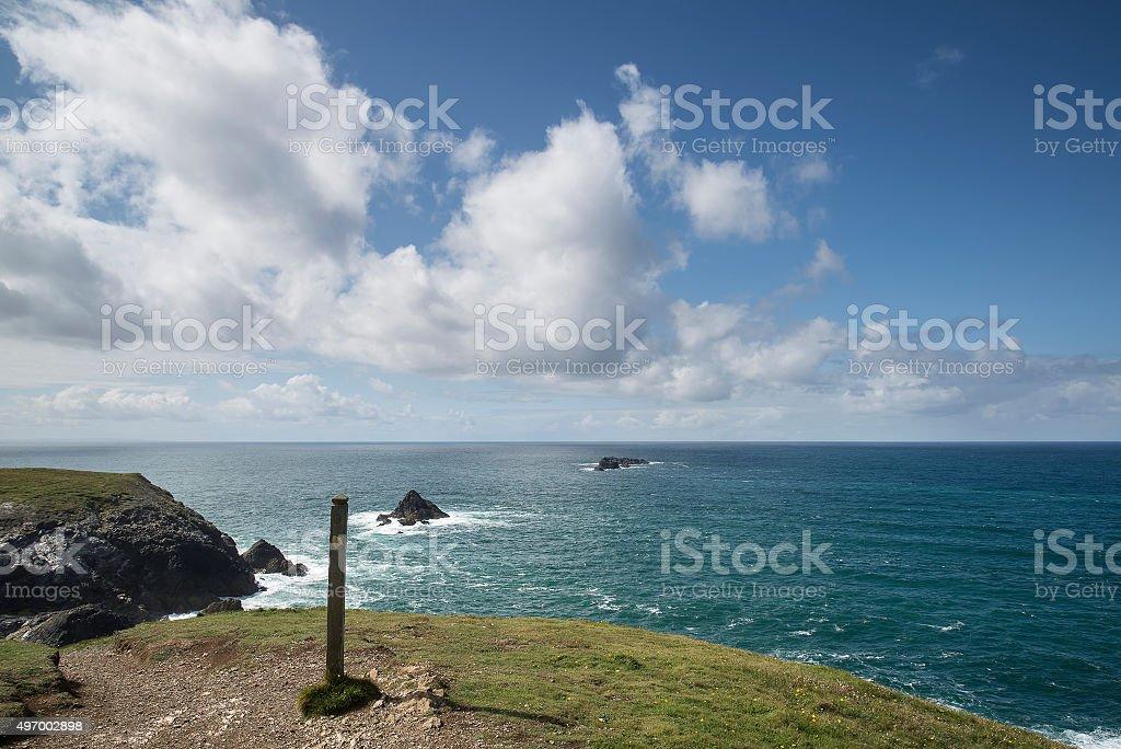 Vibrant Summer landscape image of Trevose head in Cornwall Engla stock photo