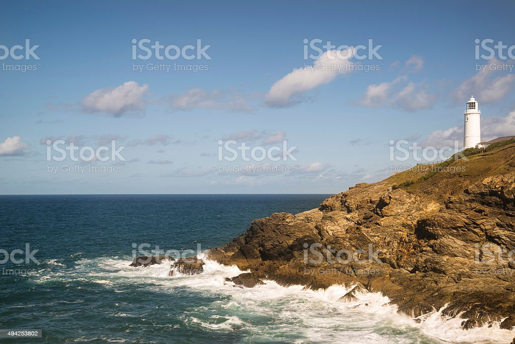 Vibrant Summer landscape image of Trevose head in Cornwall stock photo