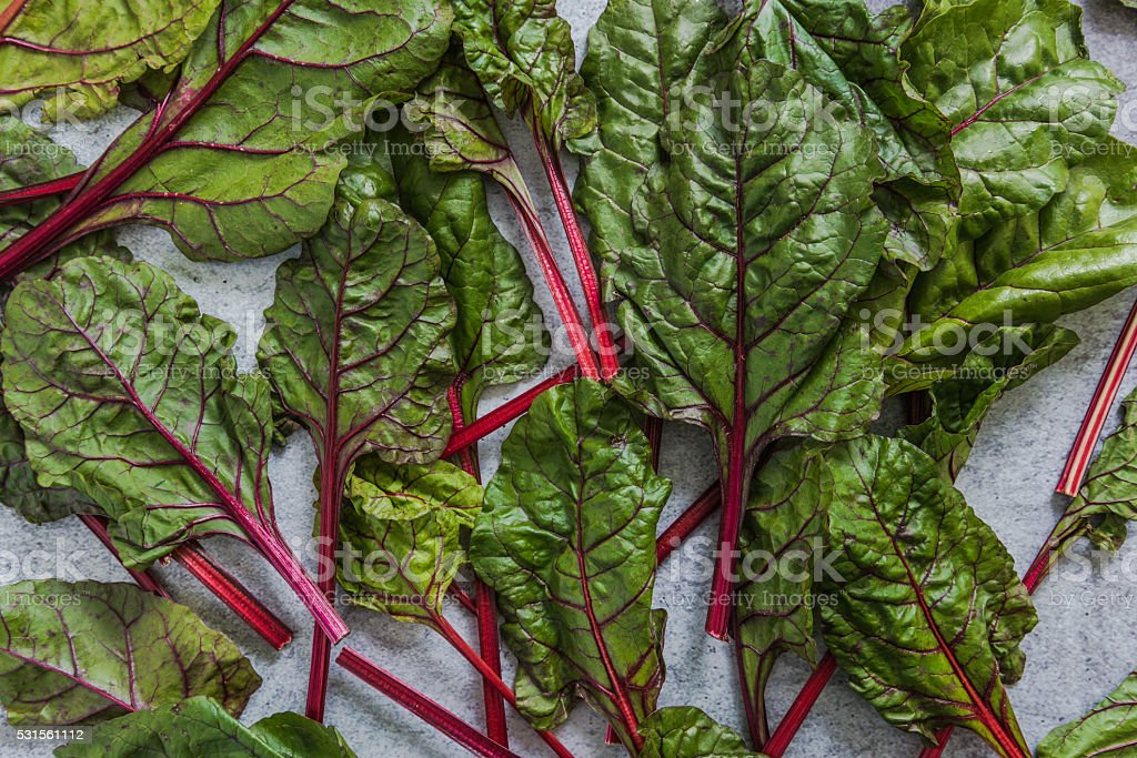 Vibrant summer vege chard from above stock photo