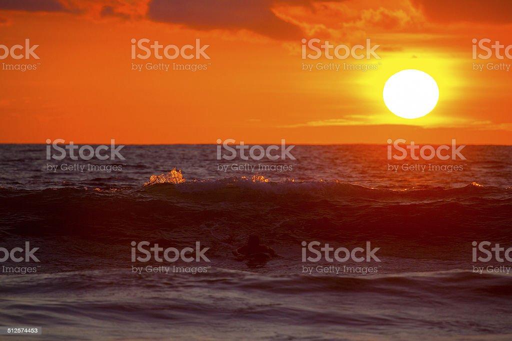 Vibrant sun setting over a tropical ocean in Costa Rica stock photo