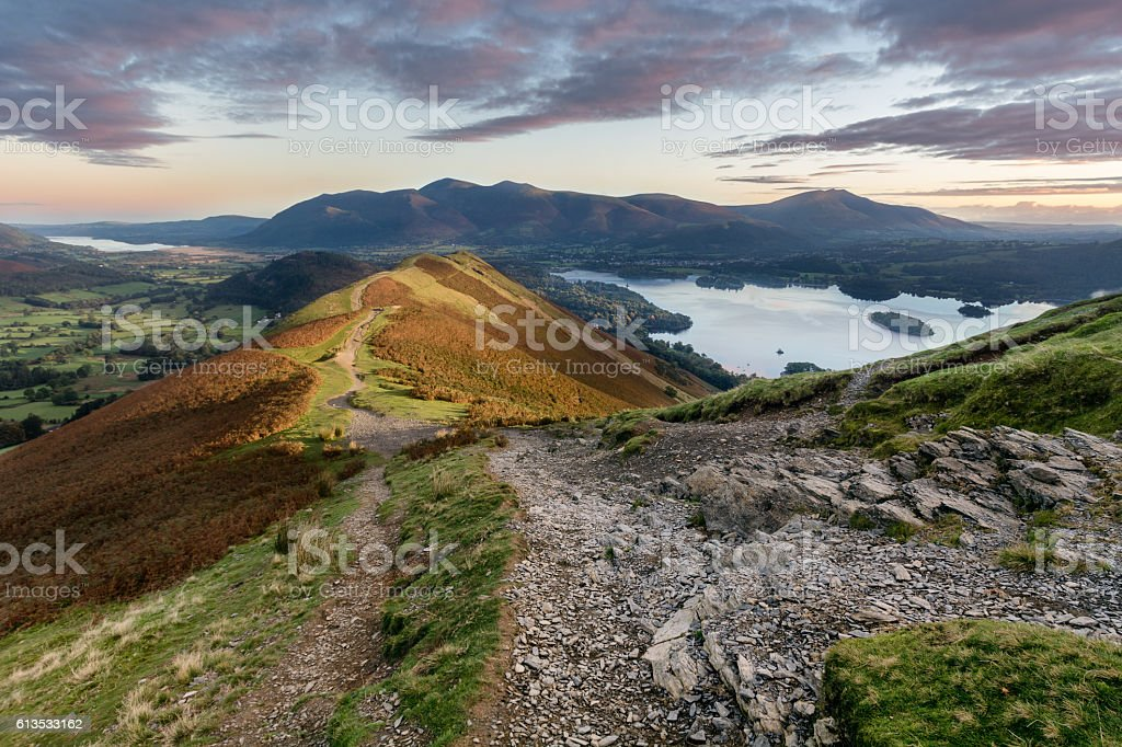 Vibrant sunrise at Catbells in the English Lake District. stock photo