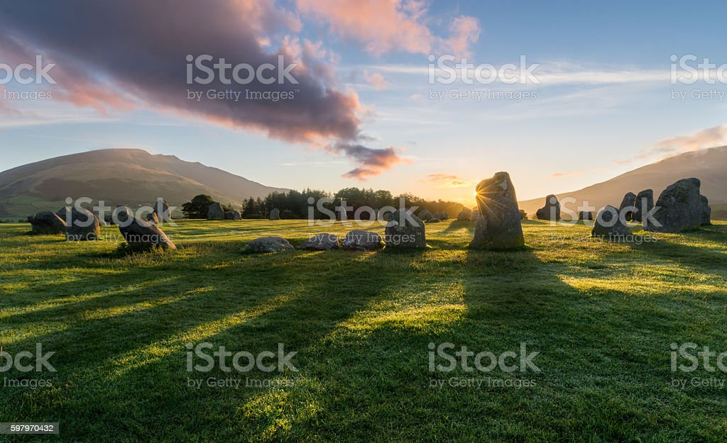 Vibrant Sunrise Castlerigg Stone Circle. stock photo