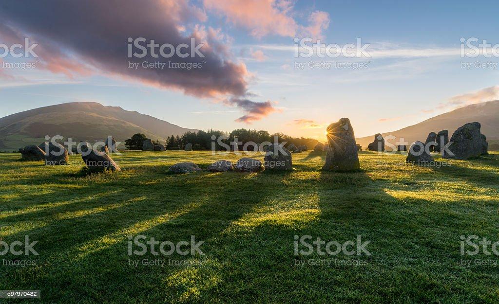 Vibrant Sunrise Castlerigg Stone Circle. stock photo
