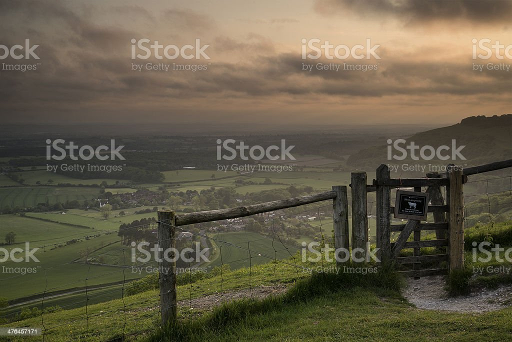 Vibrant sunrise over countryside landscape royalty-free stock photo