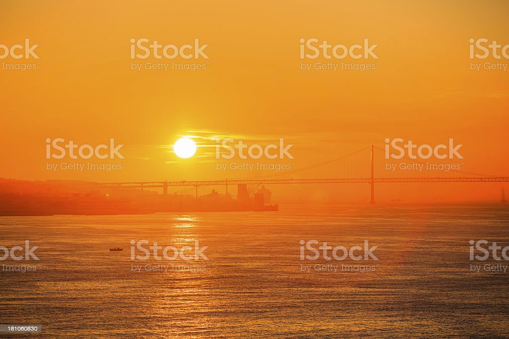 vibrant sunrise/sunset over river royalty-free stock photo