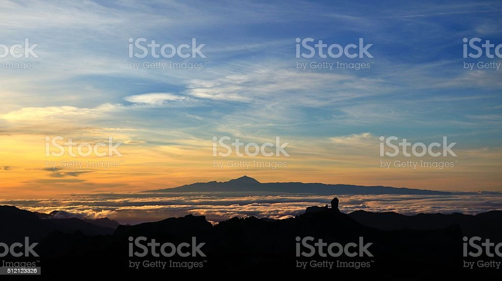Vibrant sunset from the Canary islands stock photo
