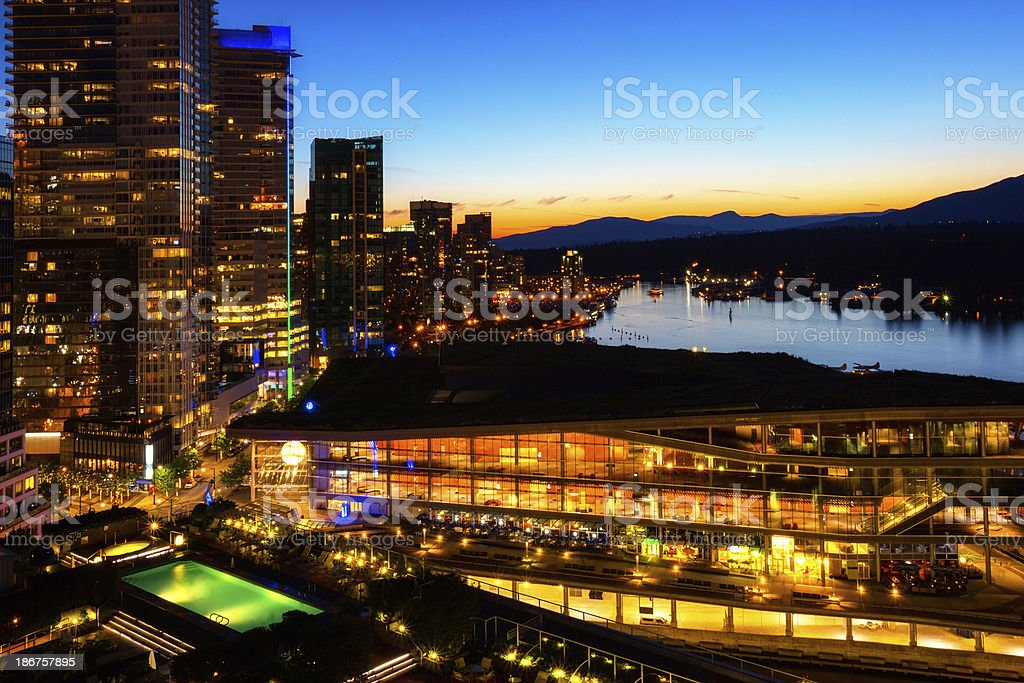 Vibrant sunset over downtown Vancouver royalty-free stock photo
