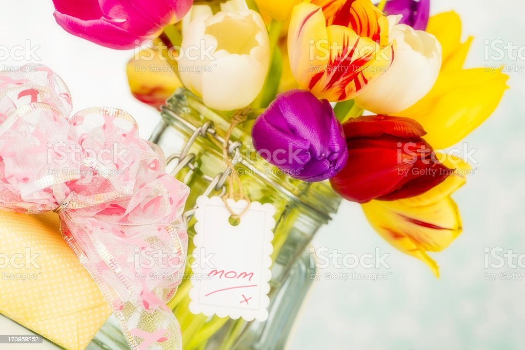 Vibrant Tulips in Jar For Mom royalty-free stock photo