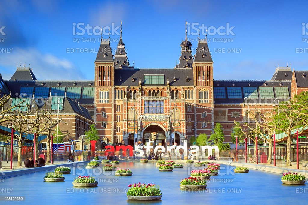 Vibrant tulips museum Amsterdam stock photo