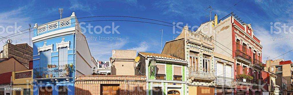 Vibrant villas Valencia colorful townhouse street panorama Spain royalty-free stock photo