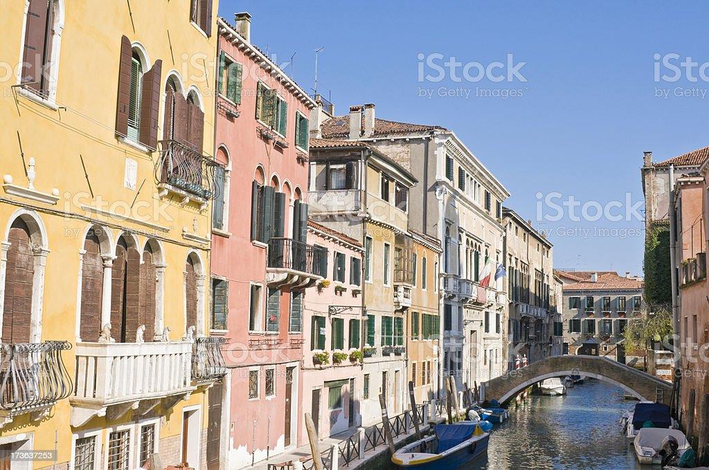 Vibrant villas Venice royalty-free stock photo