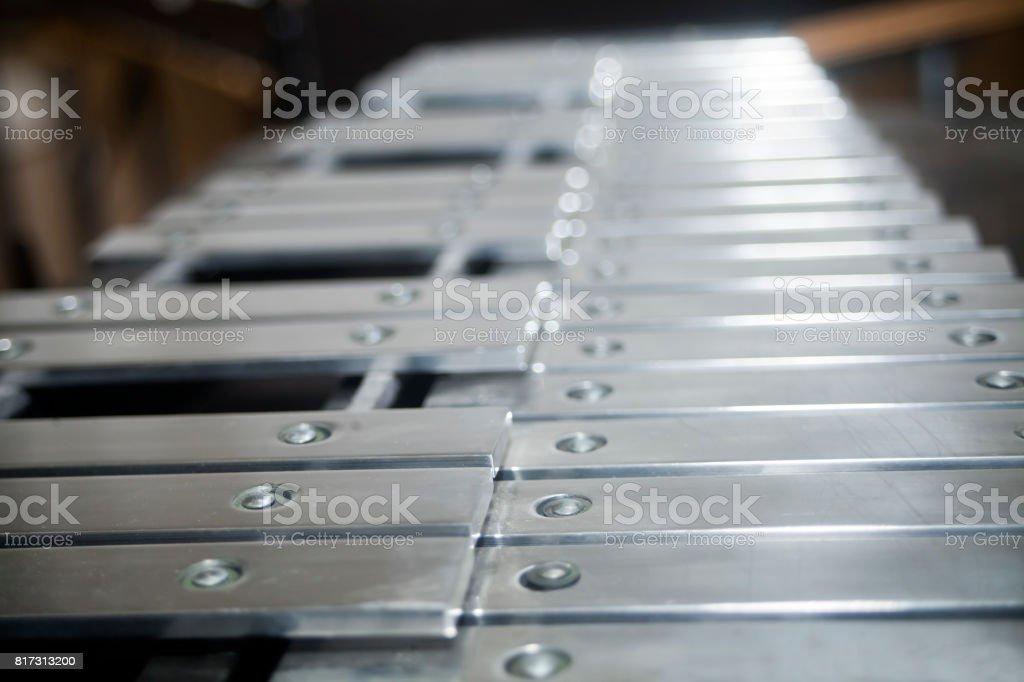 Vibraphone keyboard close-up side view. stock photo
