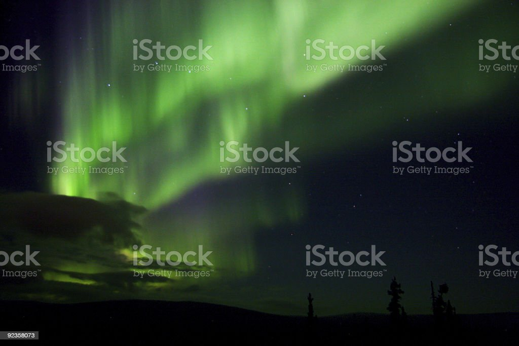 Vibrating Aurora Arc with Big Dipper and clouds near horizon royalty-free stock photo