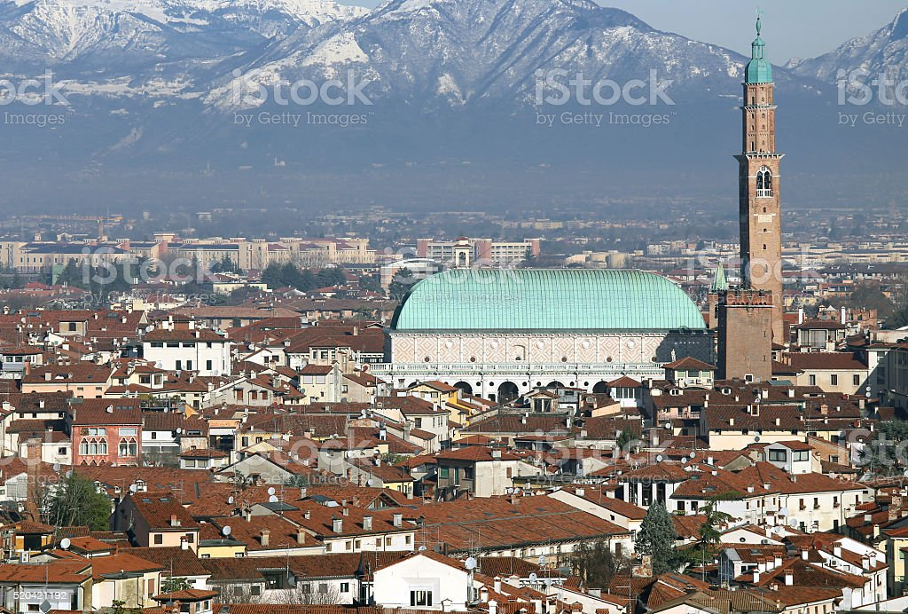 Vicenza, Italy, city with the famous Basilica Palladiana and the stock photo