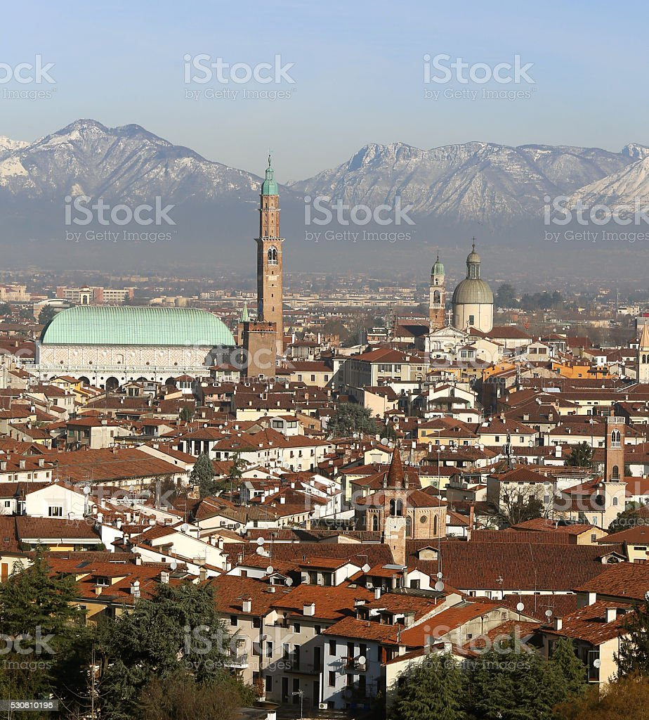 Vicenza, Italy, Panorama of the city with Basilica Palladiana an stock photo
