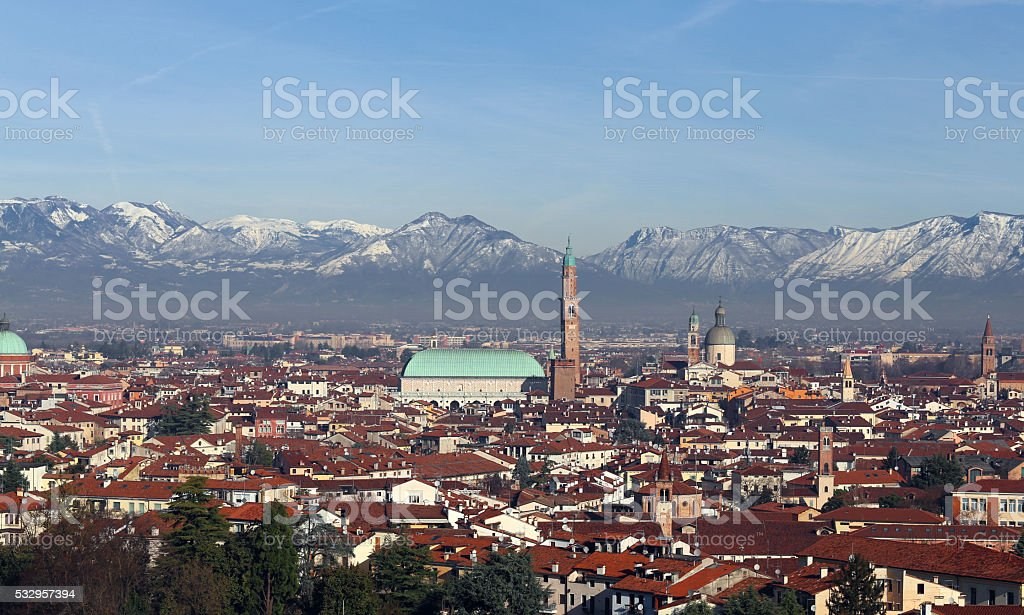 Vicenza, Italy, Panorama of the city with Basilica Palladiana stock photo