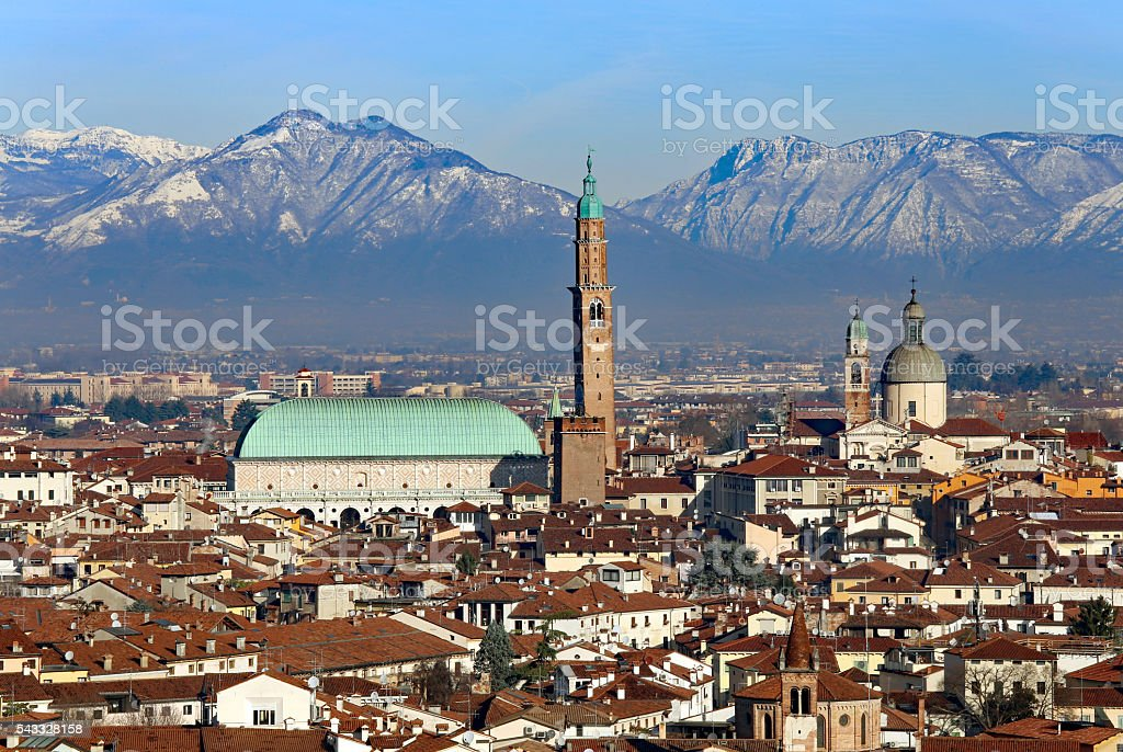 Vicenza, Italy, panorama with Basilica Palladiana and many landm stock photo