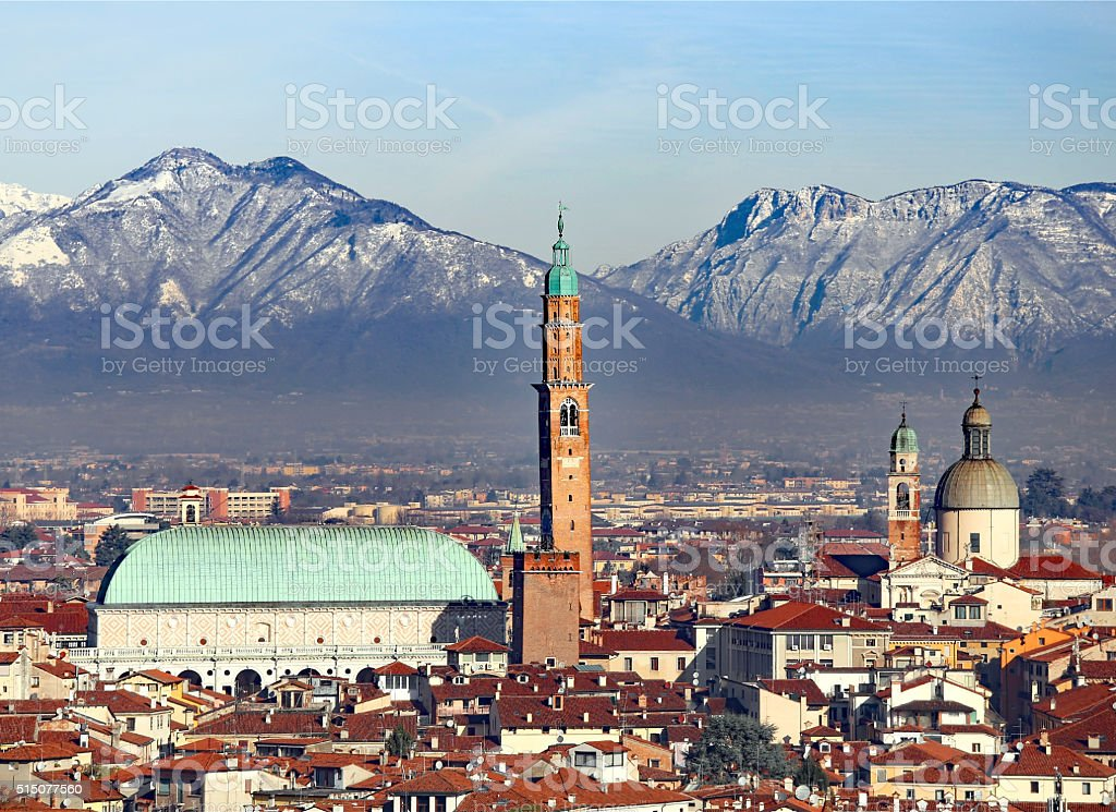 Vicenza, Italy, panorama with Basilica Palladiana and the Cathed stock photo
