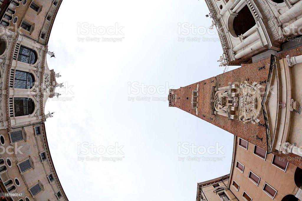 Vicenza Piazza dei Signori with Tower and Basilika Palladia stock photo
