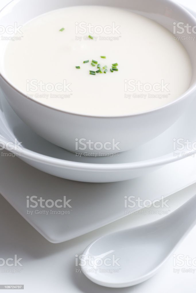Vichyssoise Cream Soup in White Bowl royalty-free stock photo