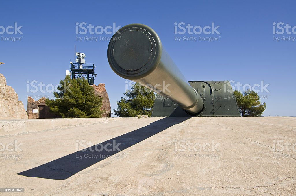 Vickers 15 inch naval gun mounted in emplacement stock photo
