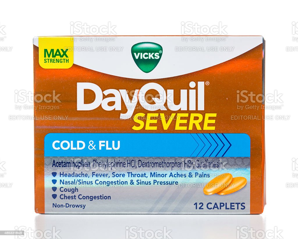 Vicks DayQuil severe cold and flu box stock photo