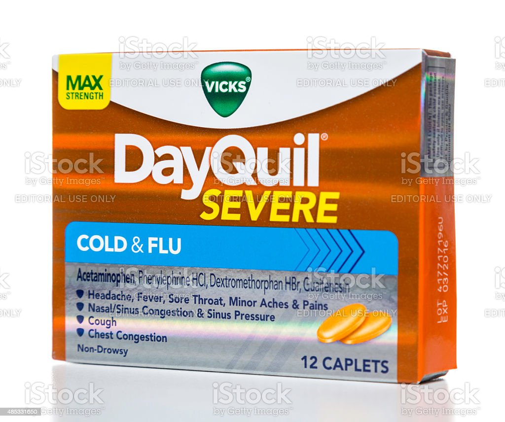 Vicks DayQuil severe cold and flu packaging stock photo