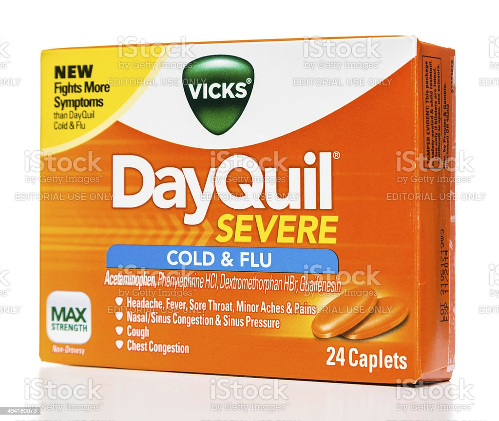 Vicks DayQuil Severe Cold & Flu box stock photo