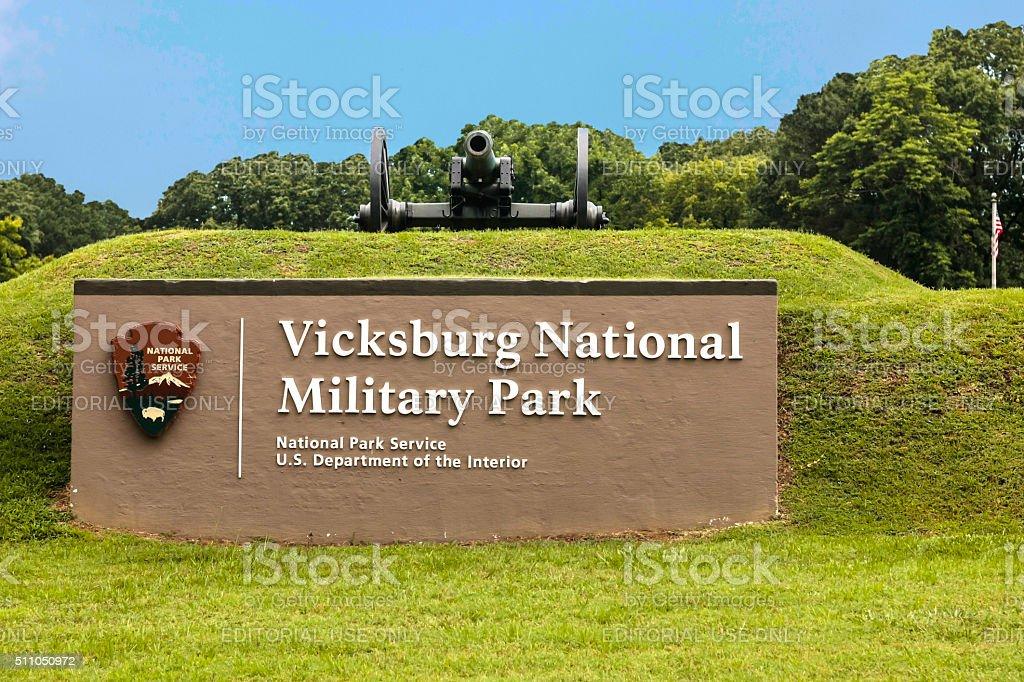 Vicksburg National Military Park sign in Mississippi stock photo