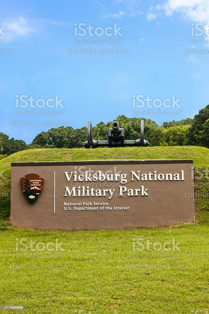 Vicksburg National Military Park sign in Mississippi stock photo
