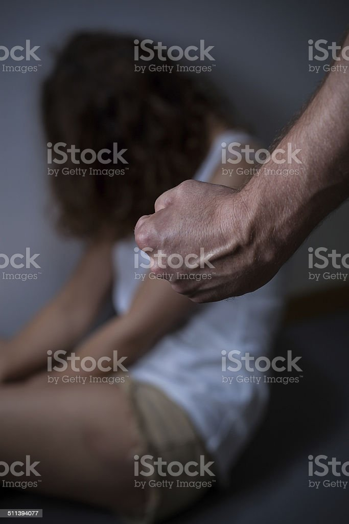 Victim of family violence stock photo