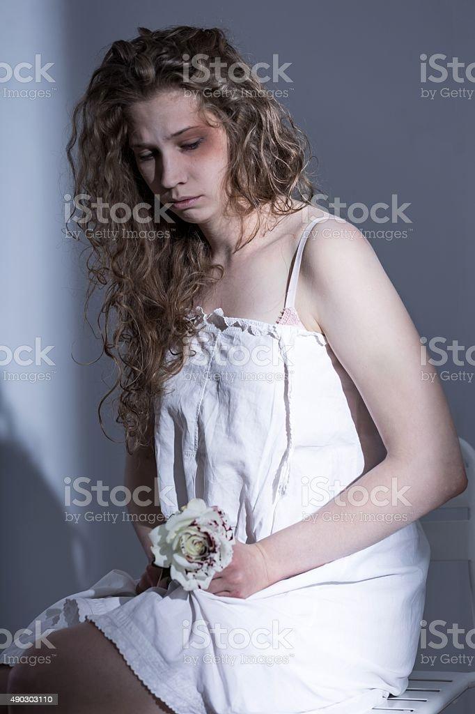 Victim of sexual assault stock photo