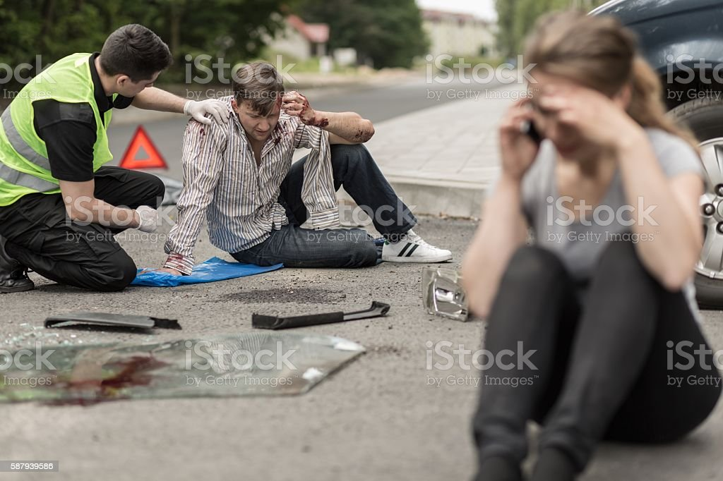 Victims of car accident stock photo