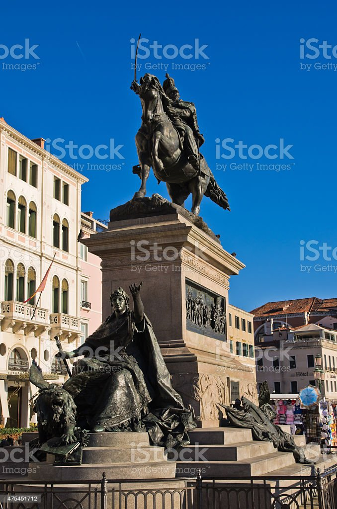 Victor Emmanuel II monument at San Zaccaria in Venice stock photo