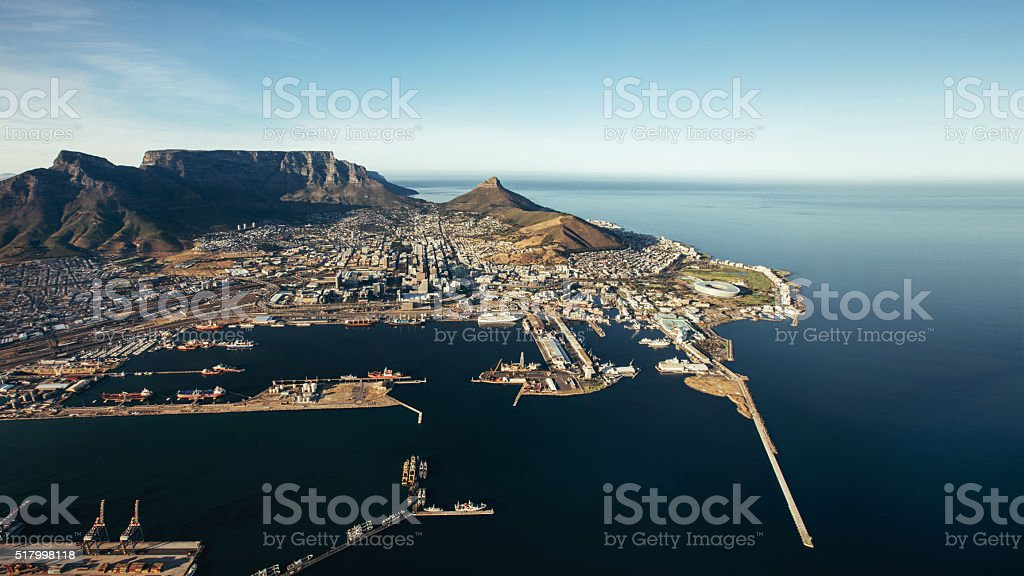 Victoria & Alfred waterfront and Cape Town harbour stock photo