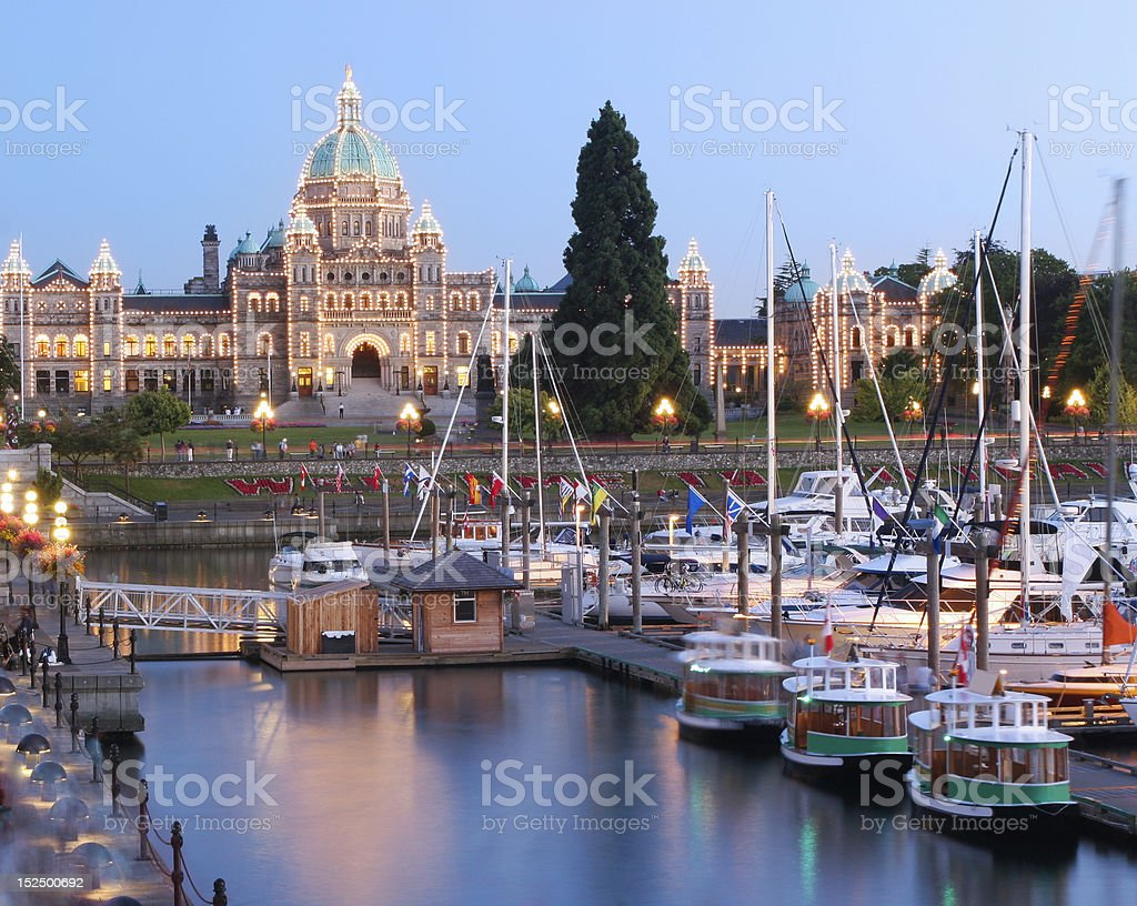 Victoria at Dusk, British Columbia stock photo