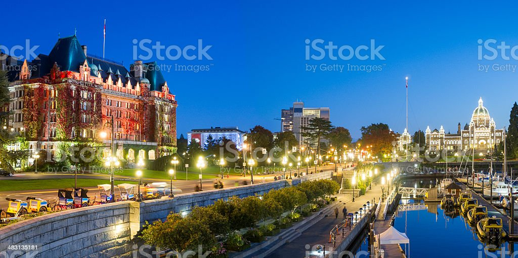victoria bc at night stock photo