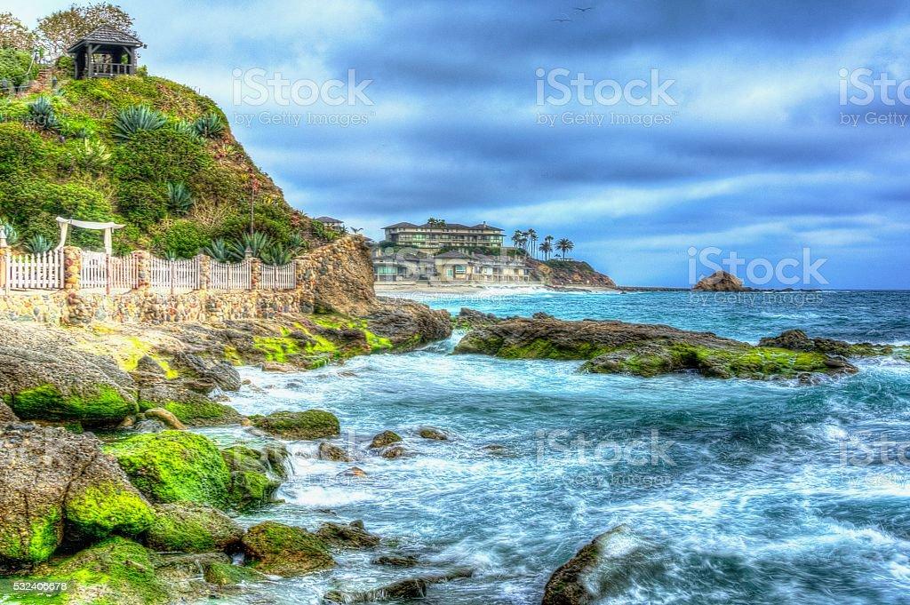 Victoria Beach at Laguna Beach, California stock photo