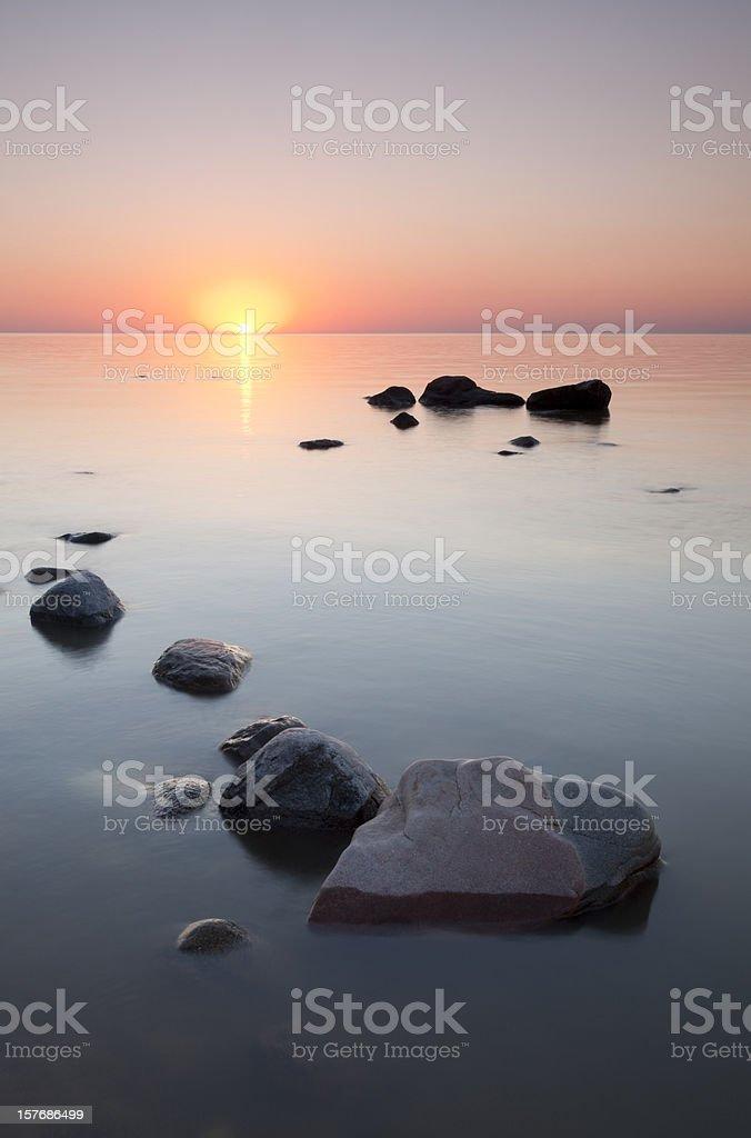 Victoria Beach Sunset Manitoba royalty-free stock photo