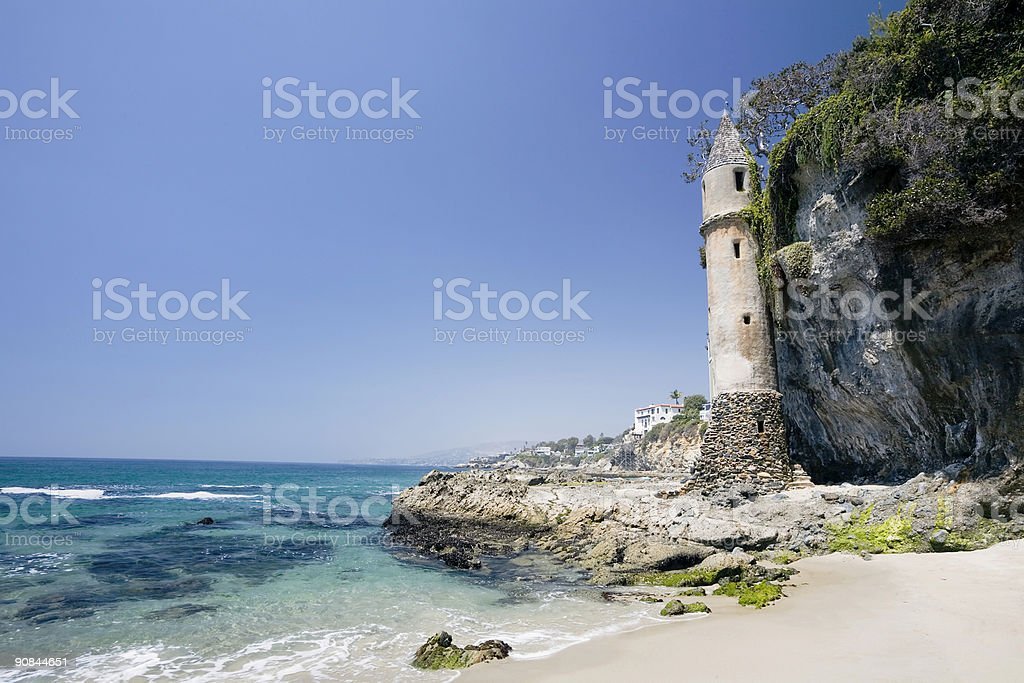 Victoria Beach with Tower, California stock photo