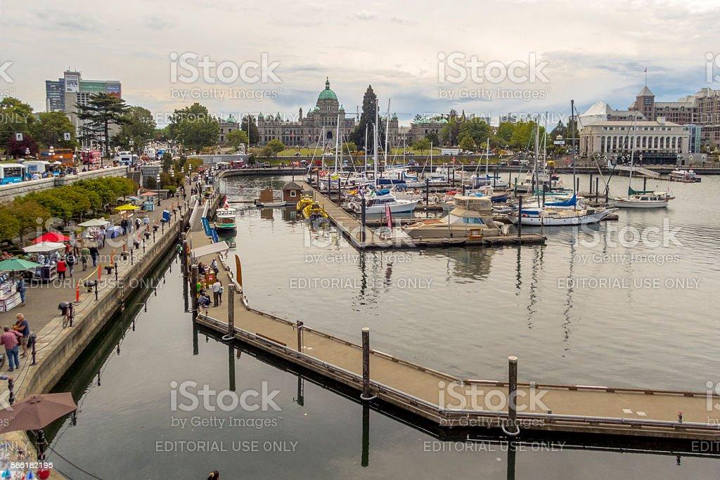 Victoria British Columbia Canada Inner Harbour British Columbia Parliament Buildings stock photo
