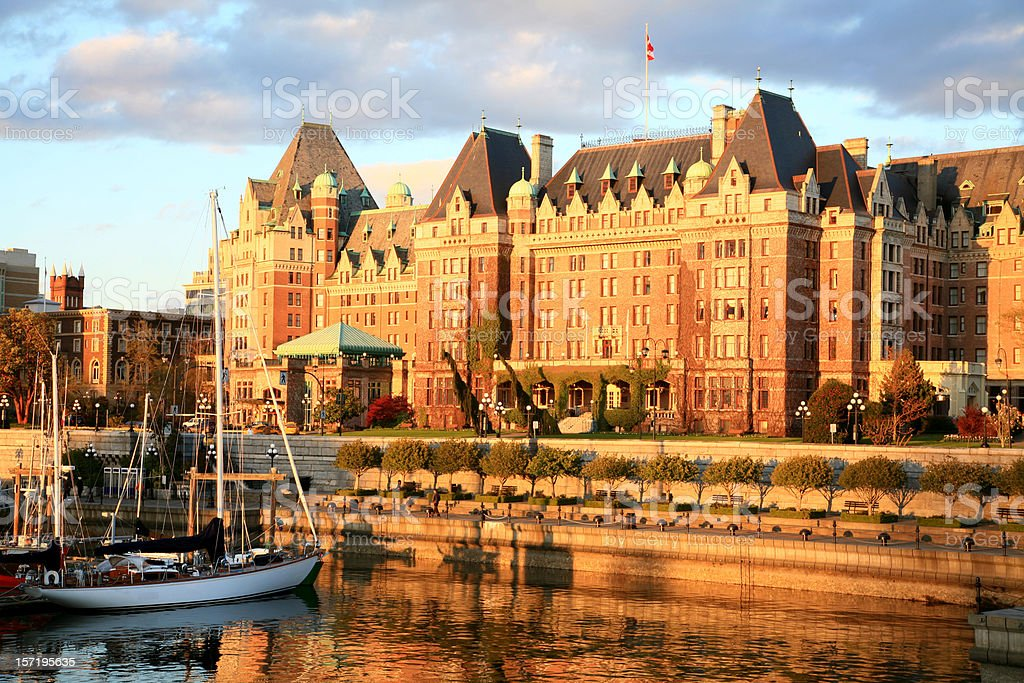 Victoria British Columbia Spring Evening With Empress Hotel. stock photo