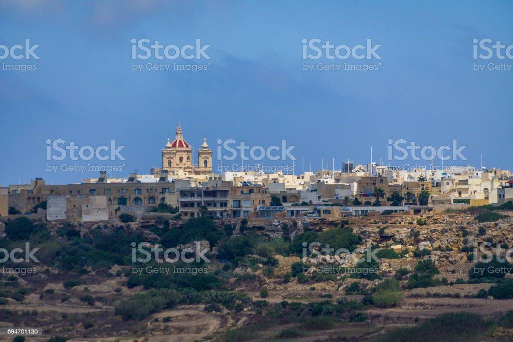 Victoria city skyline with Saint George Basilica - Victoria, Gozo, Malta stock photo