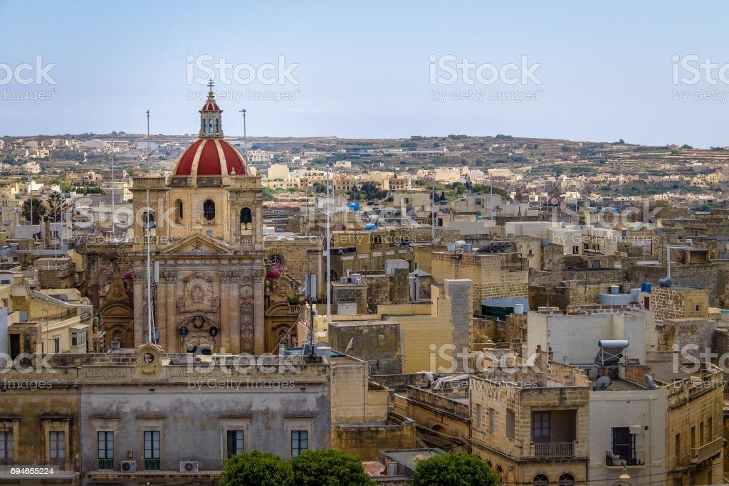 Victoria city with Saint George Basilica view from the citadel - Victoria, Gozo, Malta stock photo