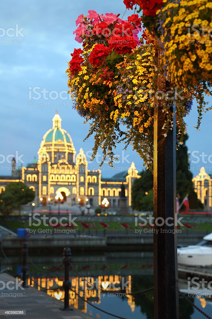 Victoria Dusk and Flowers, British Columbia royalty-free stock photo