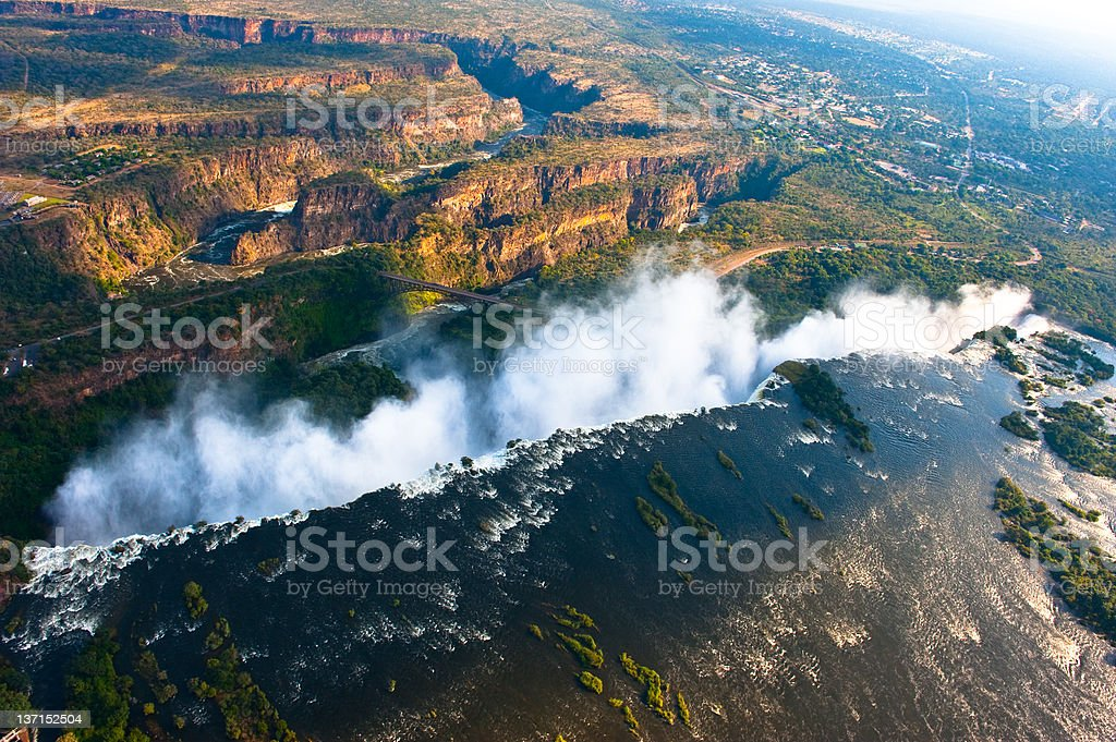 Victoria Falls from the air. stock photo